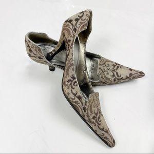Delian Brocade Pointy Toe Heels